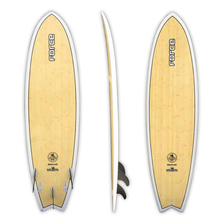 "Force 6'6"" Ecoflex Epoxy Bamboo Quad Fun Fish Surfboard"