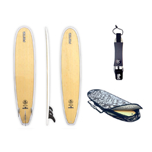 "FORCE 8'6"" Ecoflex Epoxy Bamboo Minimal Surfboard  + Cover + Leash Package"