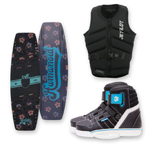 Humanoid Huxtable 126cm Wakeboard - Black + Humanoid Boots + Jetpilot PFD Package