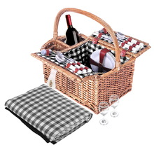 4 Person Picnic Basket Set with Blanket Black