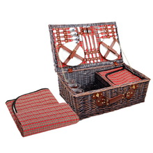 4 Person Picnic Basket Set w/ Cooler Bag Blanket