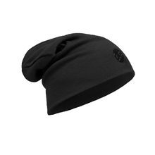 Buff Merino Wool Hat Beanie - Solid Black