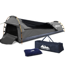 Single Biker Camping Canvas Swag Grey