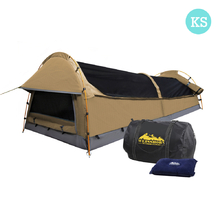 King Single Camping Canvas Swag Tent Beige with Air Pillow
