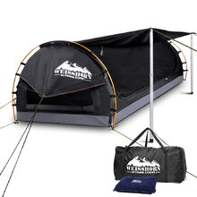 King Single Camping Canvas Swag with Mattress and Air Pillow - Grey