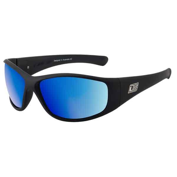 Dirty Dog Ridge Sunglasses Satin Black - Blue Mirror Polarised P52 Lens