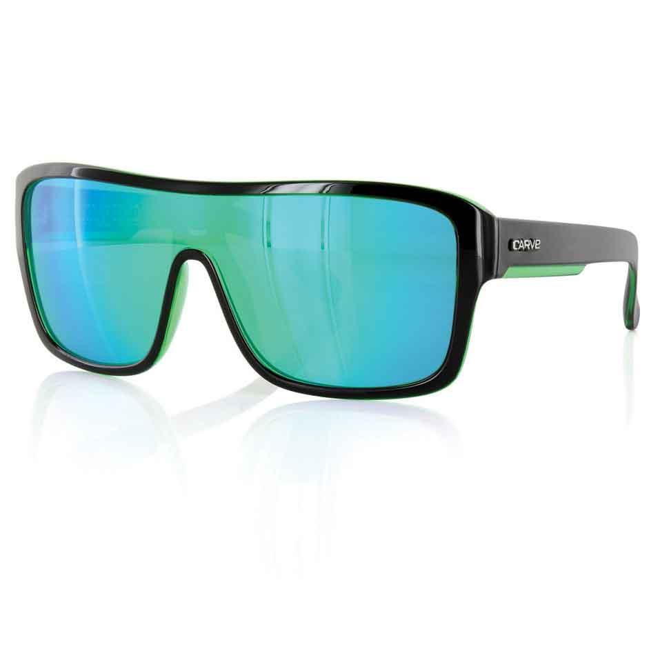 Carve Anchor Beard Black/Green Iridium Unisex Sunglasses