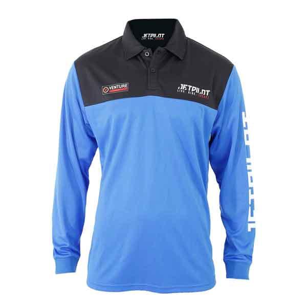 JetPilot Venture Mens Long Sleeve Fishing Shirt - Black/Blue - Small