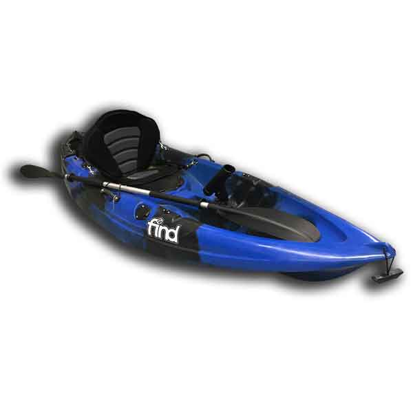 MELBOURNE FIND Stealth 2.7 Fishing Kayak Blue Camo Single 5 Rod Holders Deluxe Seat Paddle