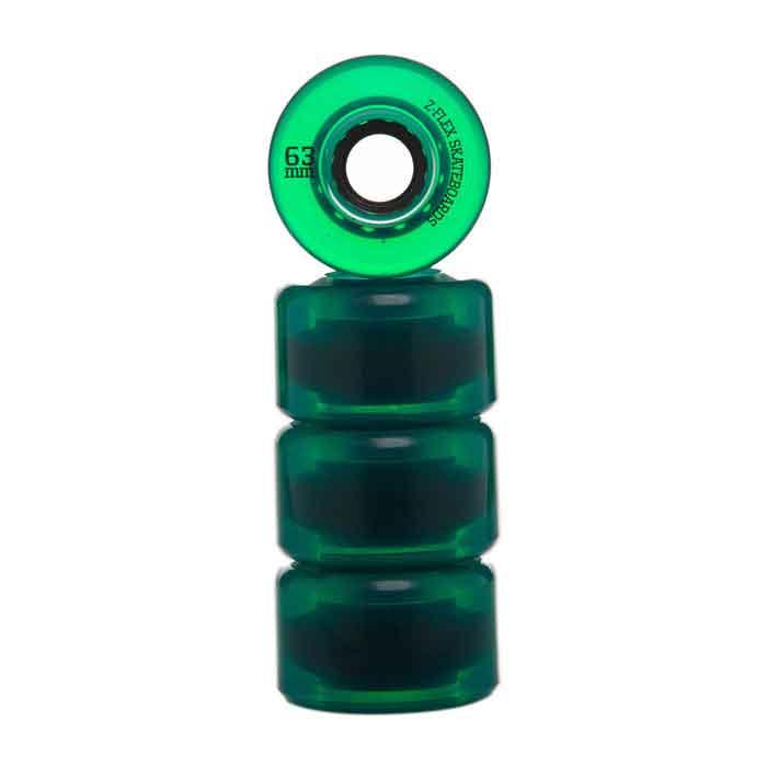 ZFlex Skateboard Wheels - V2 Z-Smooth 63Mm 83A Trans - Green
