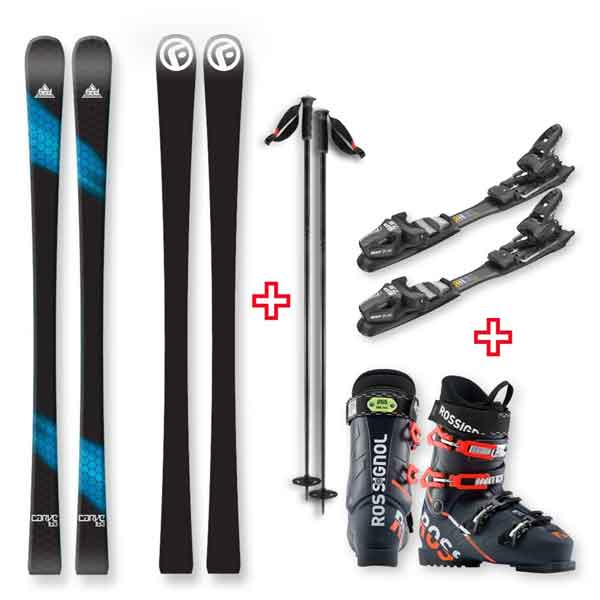 FIND Carve Capped Skis 163cm with Binding, Boots, Poles Package