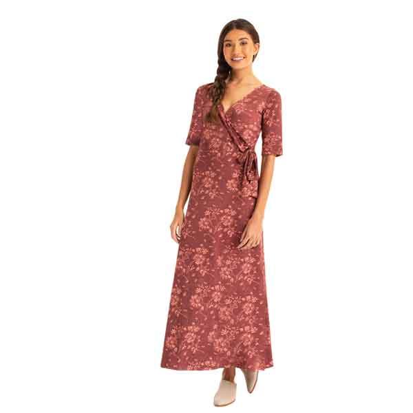 Synergy Floral Francesca Dress - Mahogany Floral - XL