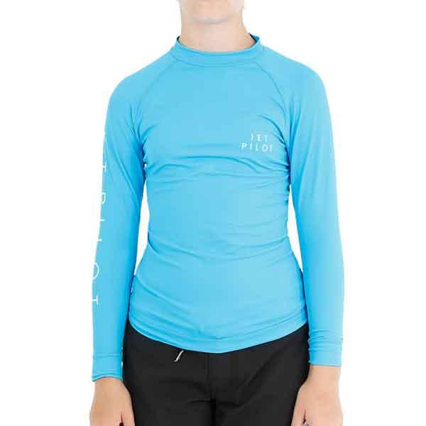 JetPilot Corp Girls Long Sleeve Rashie - Blue - 16