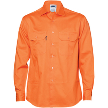 DNC Cotton Drill Work Shirt - Long Sleeve - Orange