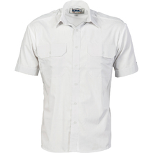 DNC Epaulette Polyester/Cotton Work Shirt - Short Sleeve - White