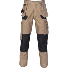 DNC Duratex Cotton Duck Weave Tradies Cargo Pants with twin holster tool pocket - knee pads not included - Desert Sand
