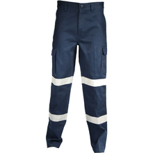 DNC DOUBLE HOOPS TAPED CARGO PANTS. - Navy