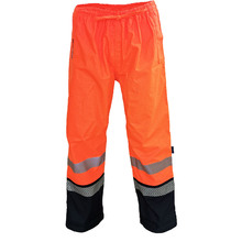 DNC HiVis FR & HRC2 D/N Rain Pants - Orange/Navy