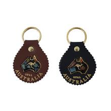 Jacaru Keyring Round with Opal, Leather - Brown