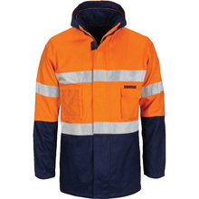 "DNC HiVis ""4 IN 1"" Cotton Drill Jacket with Generic R/Tape - Orange/Navy"