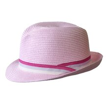 Jacaru Trilby with Striped Ribbon - Pink