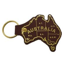 Jacaru Keyring Aust. Map Printed - Brown