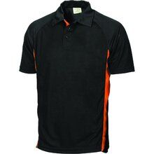 DNC Kids Cool-Breathe Side Panel Polo Shirt - Black/Orange