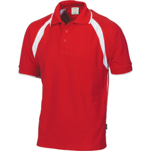 DNC Kids Poly/Cotton Contrast Raglan Panel Polo - Red/White