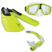 Land & Sea Adventurer Snorkel Mask & Fins Set - Yellow - M