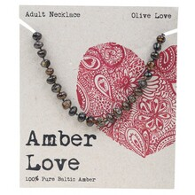 Amber Love Adult's Necklace 100% Baltic Amber - Olive Love 46cm
