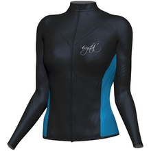 Crystal Women's LS Zip Watersport Rash Rash Top Black