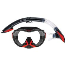 Mirage Adult Diamond Silicone Mask and Snorkel Set Red