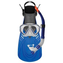 Mirage Caribbean Adult Silitex Mask, Snorkel & Fins Set Blue