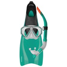 Mirage Bahamas Silitex Mask, Snorkel & Fins Set Green