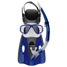 Mirage EZI-Travel Silicone Mask, Snorkel & Fins Set Blue