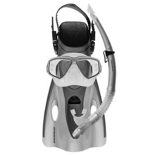 Mirage EZI-Travel Silicone Mask, Snorkel & Fins Set Silver
