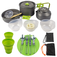 16Pcs/Set Aluminum Lightweight Folding Camping Pots and Pans Set Outdoor Picnic Cooking Tableware Kettle Bowls Set