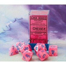 Polyhedral Dice - 7D Lustrous Pink / Blue Set (Lab Dice Wave I)