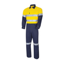 Lightweight Hi Vis Cotton Drill Coveralls With 3M Tape - Yellow Navy