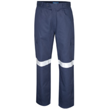 Tru Workwear Heavy Weight Cotton Drill Cargo Pants With 3M Tape - Navy