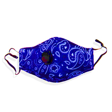 FIND Face Mask with Filter Navy Blue Paisley Cotton