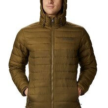 Columbia Mens Powder Lite Hooded Insulated Jacket New Olive Brown