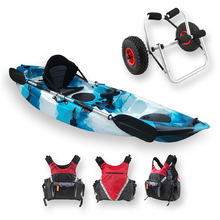 FIND™ Stealth 2.7 Single Fishing Kayak Ice Camo Including PFD Life Vest & Kayak Trolley