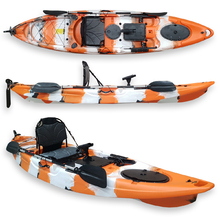 FIND™  Dream 3.5 Single Fishing Kayak Corange Camo with PRO Seat, Paddle,  Adjustable Foot Rests/Rails & Rod Holder