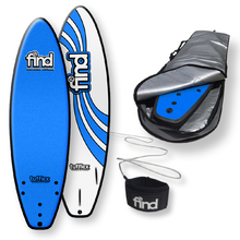 "FIND™ 6'0"" Tufflex Thruster Blue Soft Surfboard Softboard + Cover + Leash Package"