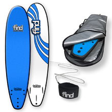 "FIND™ 8'0"" Tufflex Thruster Blue Soft Surfboard Softboard + Cover + Leash Package"