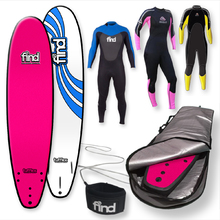 "FIND™ 8'0"" Tufflex Thruster Pink Soft Surfboard Softboard + Cover + Leash + Wetsuit Package"