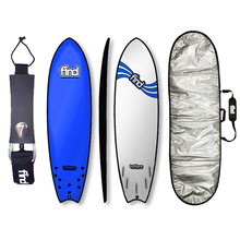 "FIND™ 6'9"" Tuffpro Quadfish Blue Soft Surfboard Softboard + Padded Silver Cover + Leash Package"