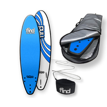 "FIND™ 7'0"" TuffPro Thruster BLUE Soft Surfboard Softboard + Cover + Leash Package"
