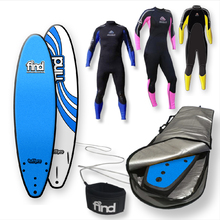 "FIND™ 7'0"" TuffPro Thruster BLUE Soft Surfboard Softboard + Cover + Leash + Wetsuit Package"
